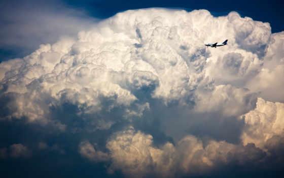 самолет, oblaka, небе