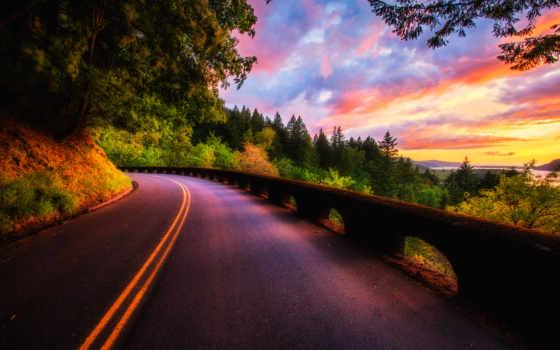 закат, дорога, природа