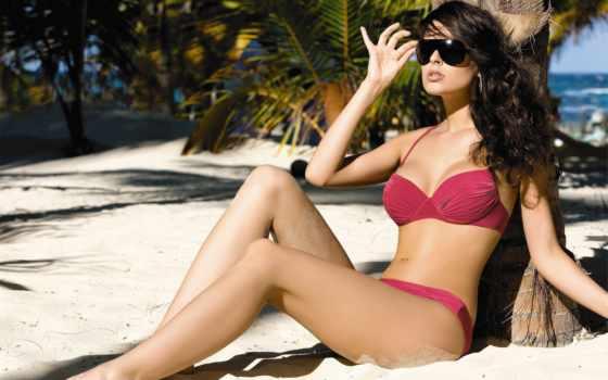 очки, девушка, море, купальник, пляж, солнцезащитные, red, бикини, очках, февр,
