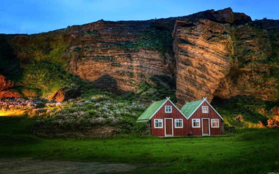 rock, iceland, домики, свет, луг, гора, church, просмотров, избранном, рейтинг, кб,