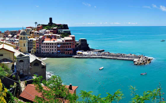 vernazza, italy, панорама, cinque, parede, terre, free, images, itália,