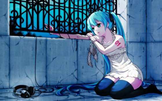 anime, грусть, девушка, грустный, волосы, headphones, наушниках,