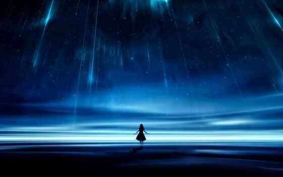 девушка, anime, одиночка, black, galaxy, небо, star, dark, ночь, грустный, женщина