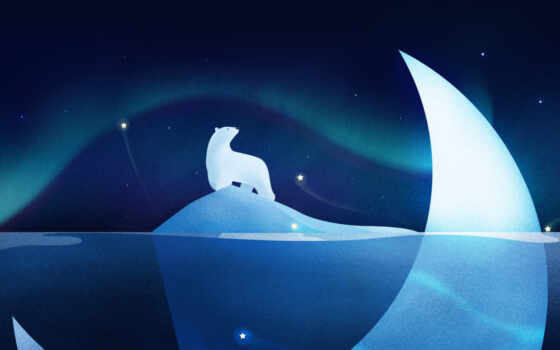 огни, star, planet, медведь, northern, polar, illustration, blue