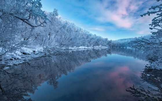 winter, природа, река, снег, отражение