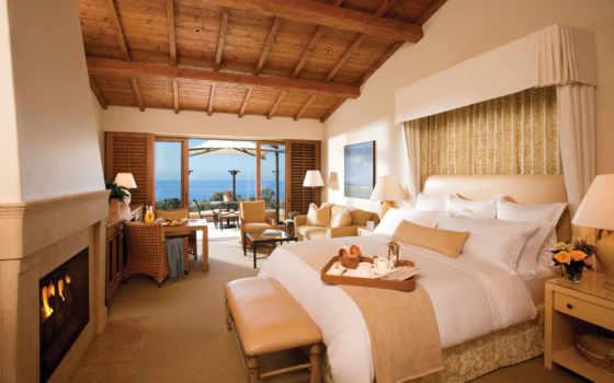 каминь, спальня, кровать, комната, интерьер, resort, design, лампы, kartinka,