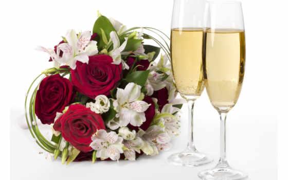 шампанское, цветы, розы