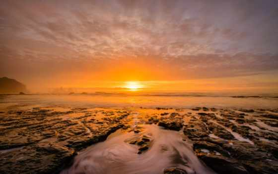 море, утро, горы, sun, скалы, закат, небо, хороший, oblaka, quotes, камни,