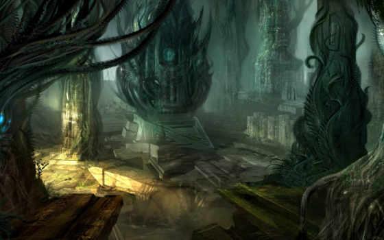 разруха, колонны, город, пришельцы, fantasy, пещера, art, развалины, world, горы, fantastic,