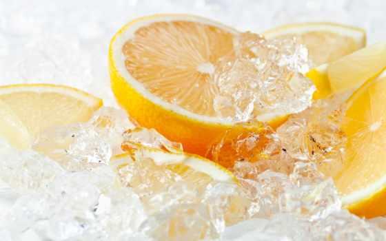 оранжевый, lemon, лед, цитрус, фрукты, картинка, еда,
