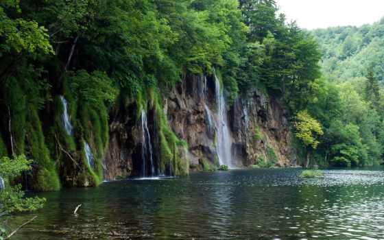 природа, national, park, plitvice, дорога, пейзажи -, водопад, озера, lakes, водопады, rub,