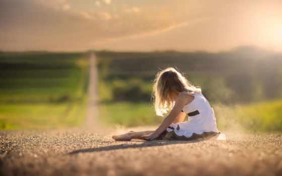 дорога, девушка, раздолье, платье, боке, ситуации, пыль, lantern, путь,