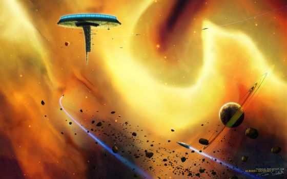albireo, корабли, метеориты, станция, outpost, universe, digital, planets, art, resolution,