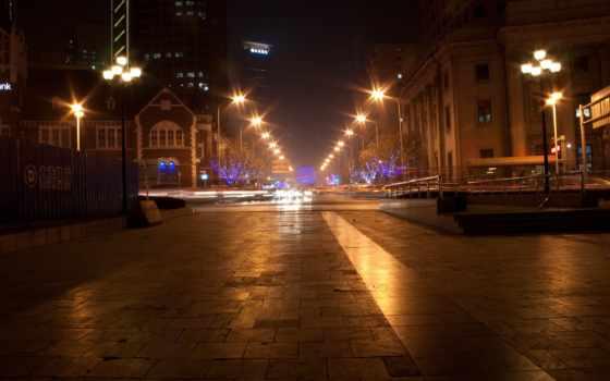 бульвар, надписи, фонари, огни, метро, ночь, город, картинка,
