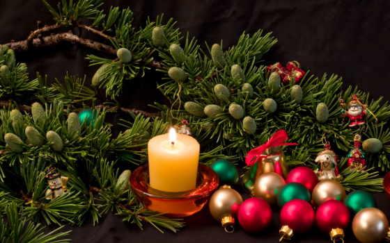 новый, год, елка, свеча, шары, шишки, праздники,