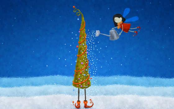 снежинки, елка