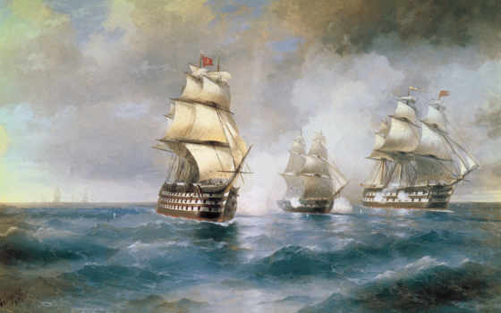 двумя, меркурий, турецкими, бриг, кораблями, атакованный, айвазовский, иван,