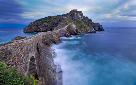 gaztelugatxe, лестница, san, juan, bermeo, гастелугаче, ди, острове, испании, находится,