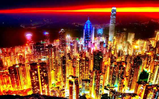 город, небоскребы, ночь, высоты, огни, skyline, города, полёта, kong, птичьего,