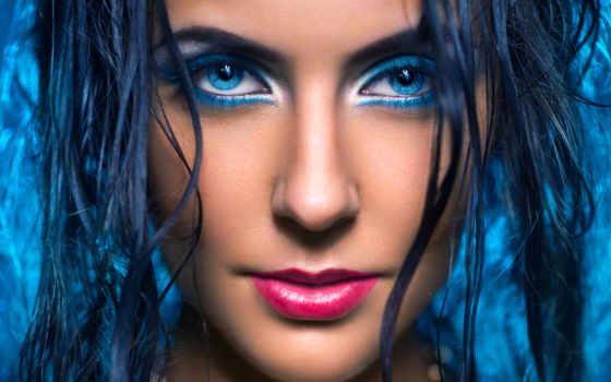 blue, волосы, девушка, макияж, сделать, free, женщина,