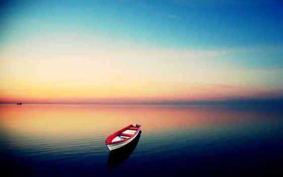 лодка, закат, море, ipad, loneliness, water, гладь, skyline,