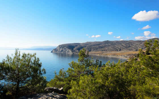 море, крымский, landscape, побережье, россия, картинку, кусты, берег, природа,