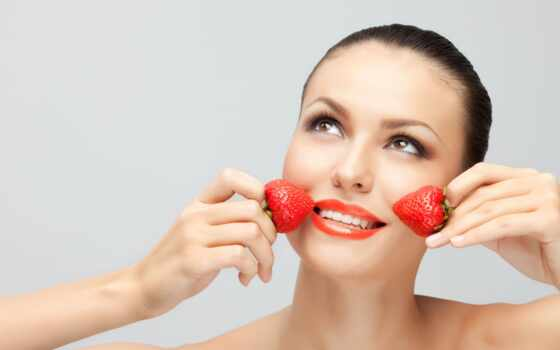 кожа, маска, клубника, лицо, только, organizm, vitaminovyi, useful, девушка, много