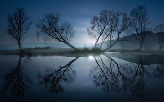 природа, дерево, ночь, отражение, user, свет, гора, wallbox, коллекция