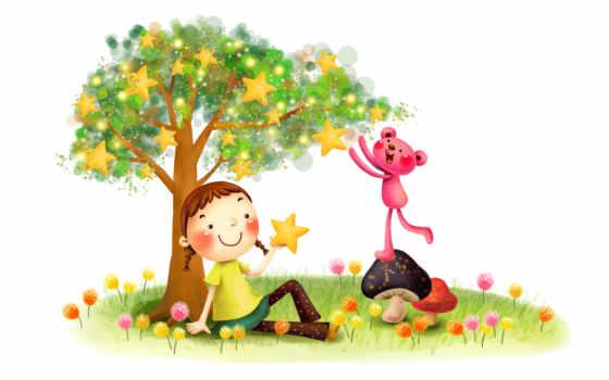 нарисованные, девочка, медвежонок, звёзды, дерево, сбор, грибы, цветы, радость