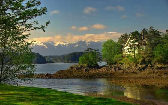 горы, house, берег, деревья, озеро, природа, озера, взгляд, building, море, лодки,