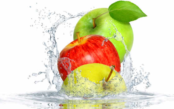 яблоки, фрукты, water, брызги, еда, страница, apples, drops, splash,