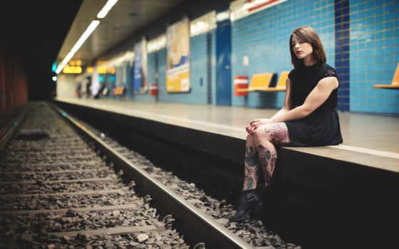 waiting, подземка, поезд, станция, девушка, платье, metro,