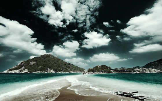 таиланд, природа, небо, косичка, море, oblaka, горы, широкоформатные,