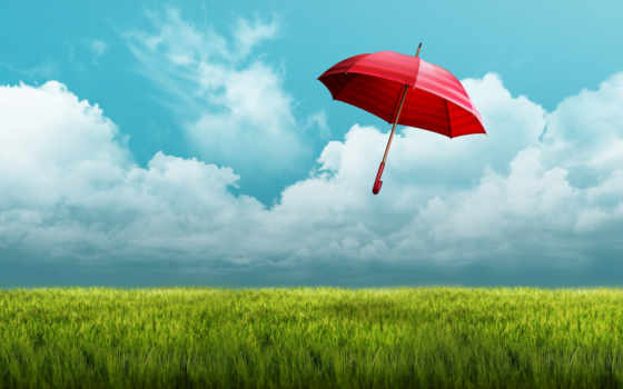 небо, зонтик, red, поле, oblaka, ветер, toy, девушка,