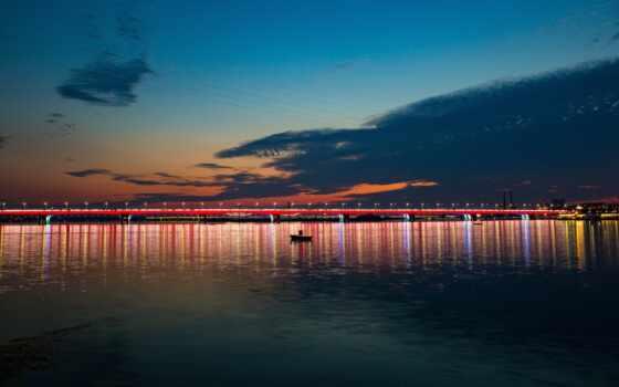 город, ночь, море, лодка, мост