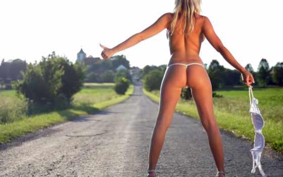 автостоп, автостопом, девушек, путешествующих, будет, пара, ждать, путник, обнажённый, попутный, beyond,
