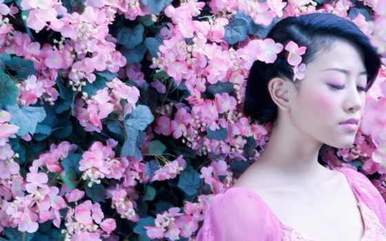 japanese, девушка, цветы