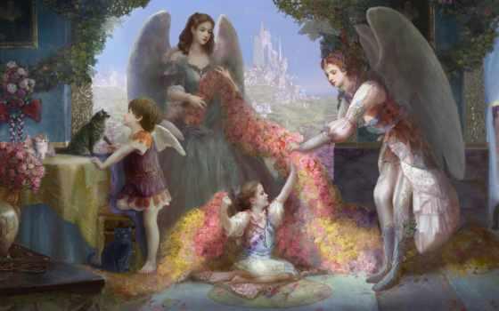 fantasy, цветы, ангелы