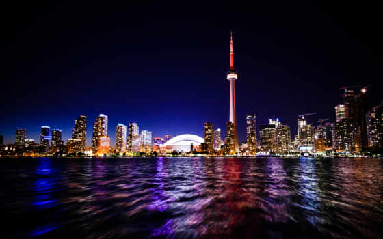 toronto, ночь, skyline, город, города, достопримечател, канадский,