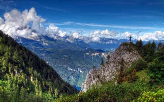 горы, панорама, oblaka, ущелье, небо, sun, лес, вершины, height,