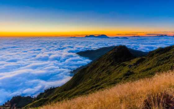 oblaka, небо, горы