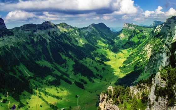 горы, landscape, заставки, природа, ultra, awesome, дома, swiss, луга,