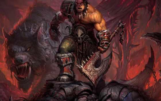 warcraft, grommash, hellscream, warlords, draenor, world, wow, orc, топор, воин, цепи,