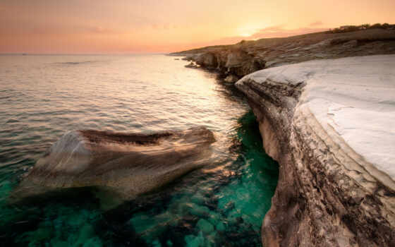 кипр, море, побережье, природа, закат, вечер, пляж