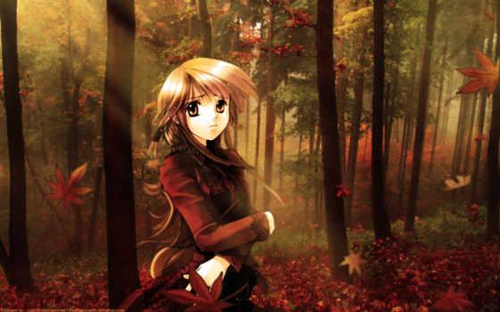 аниме, осень, девушка, âþéáöå, лесу, artemis, лес, looks, она, красивые, topuzz, desktop,
