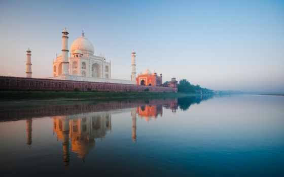 тадж, mahal, india, широкоформатные, река, mosque, история, taj,