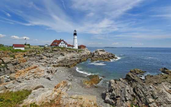 море, landscape, lighthouse, portland, природа, голова, свет, всех, фотографий, dave,