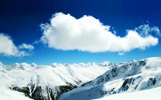 горы, oblaka, снег