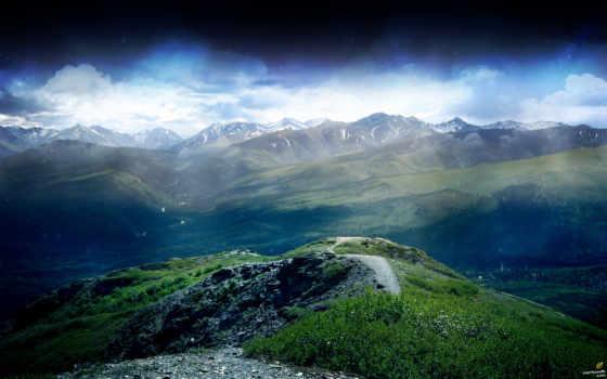 небо, природа, гора