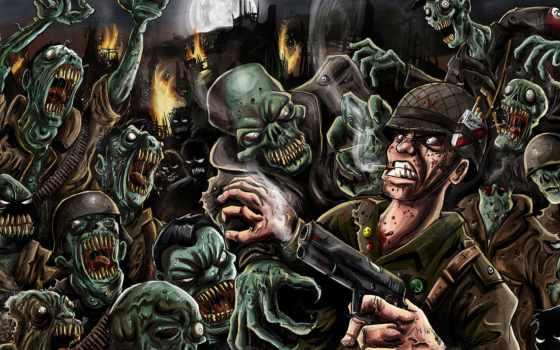 зомби, пистолет, остов, девушка, фоны, кладбище, ночь, солдат, картинка,